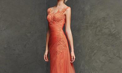 橙色蕾丝晚礼服