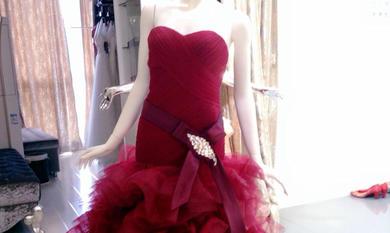 酒红色彩纱蓬蓬礼服裙