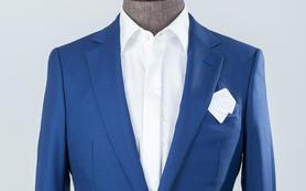 单粒扣蓝色套装