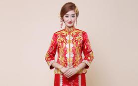 新娘龙凤褂裙结婚旗袍敬酒服红色长款中式复古嫁衣礼
