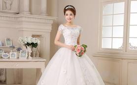 2015韩式婚纱一字肩绑带齐地显瘦婚纱