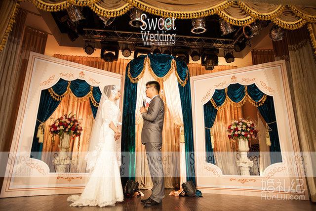 孔雀蓝色婚礼 香槟色欧式婚礼