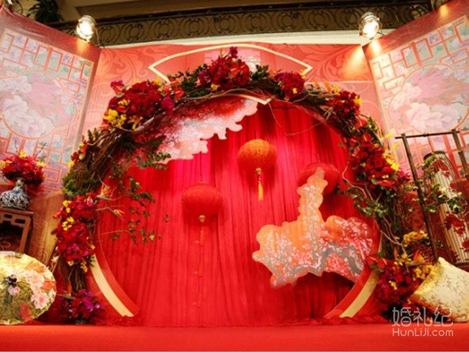 中式婚礼舞台效果图设计图__背景素材_psd分层素材_设图片