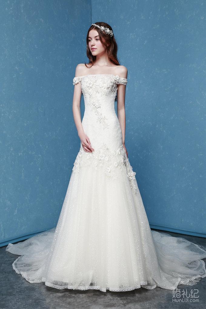 一字肩鱼尾婚纱,婚纱礼服设计作品欣赏