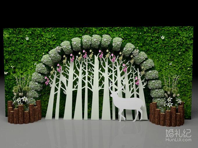 森林绿色帷幔门楣装饰+欧式