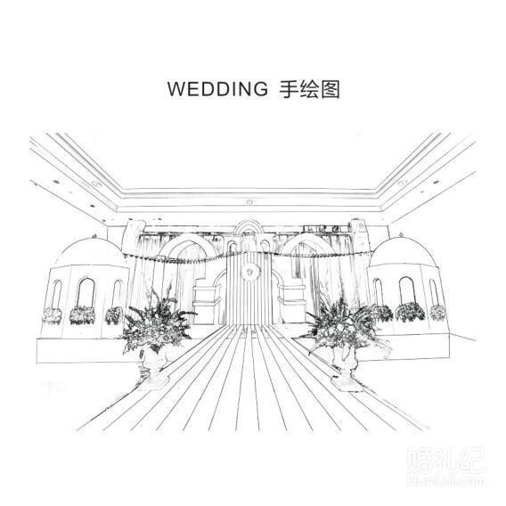 白色小清新婚礼手绘图