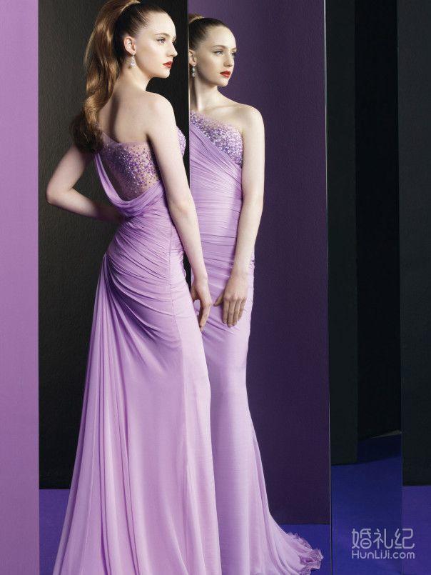 pastel 粉紫色晚礼服敬酒服