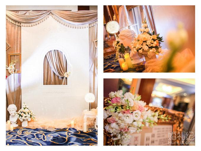 豪华迎宾背景主题式设计,创意道具陈设,精美花艺鲜花制作   20平方米