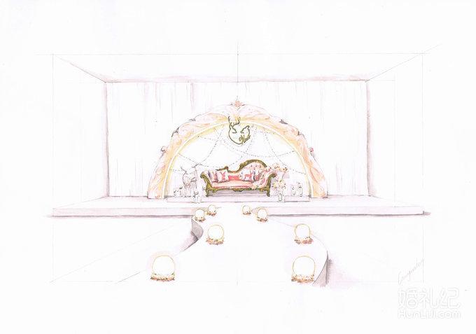 甜美欧式粉金色系手绘套餐