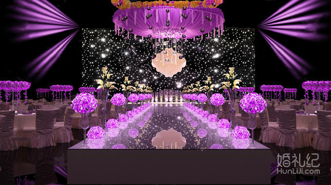 星空主背景加上婚礼主题logo,主舞台上空圆形吊顶花环,在灯光的渲染