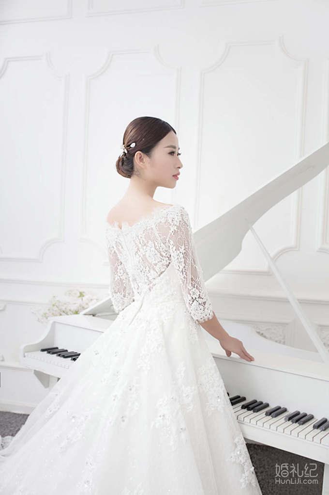 乐唯婚纱--【乐字系】拖尾一字纱租赁价格