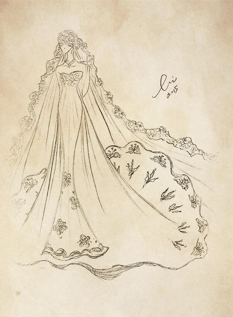 婚纱手绘设计图长裙摆