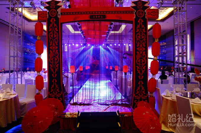 婚礼舞台立体式汉式风格喷绘桁架设计(喷绘背景) 婚礼仪式汉式宫灯