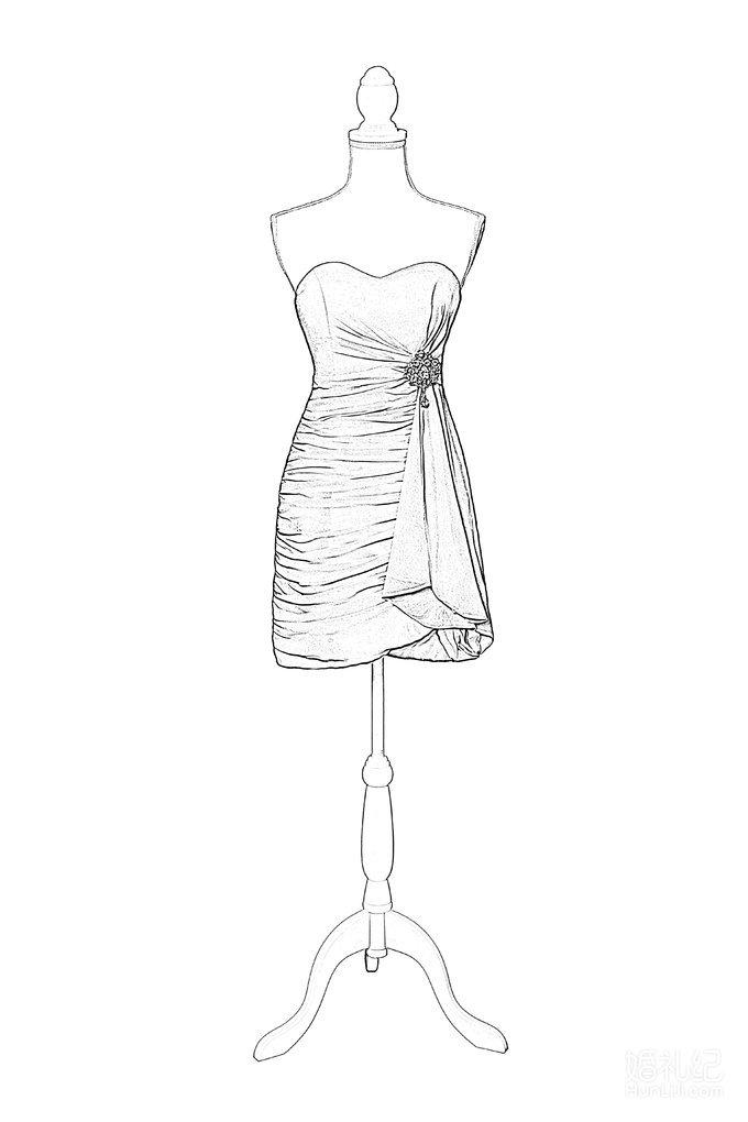 抹胸短款雪纺小礼服