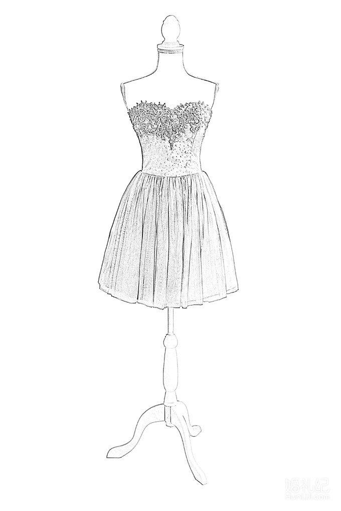 女装礼服手绘裙摆