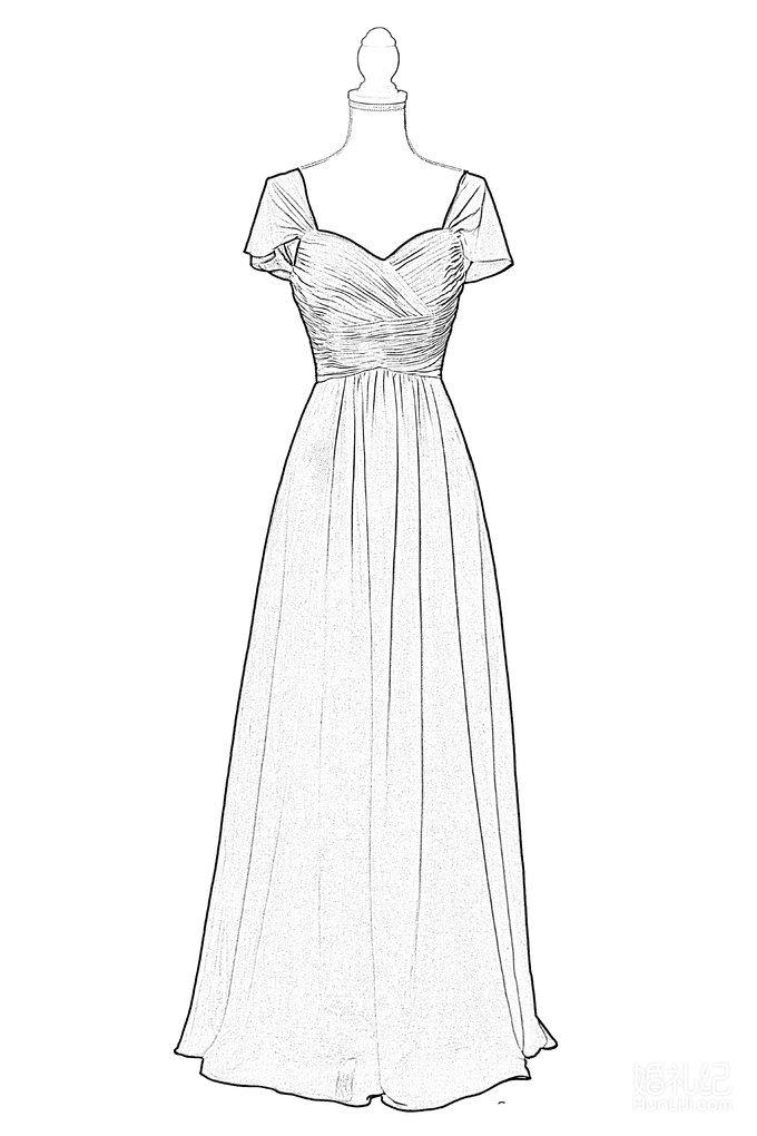 手绘动漫少女衣裙褶皱