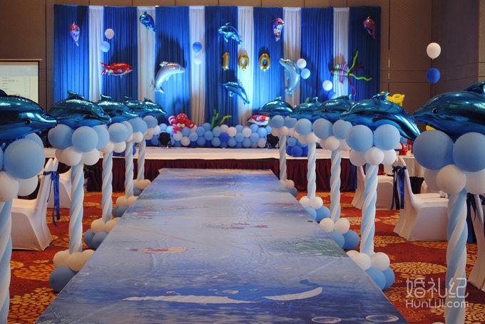 「宝宝百日宴」蓝色海洋系男宝主题百日宴,婚礼策划