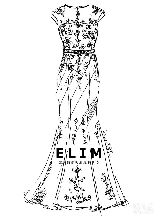 意岚婚纱礼服手绘图,婚纱礼服设计作品欣赏,婚礼纪 ji