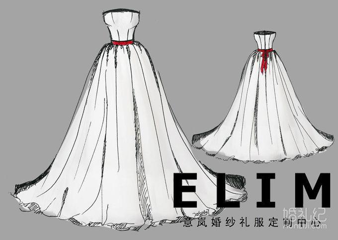 意岚婚纱礼服手绘图,婚纱礼服设计作品欣赏