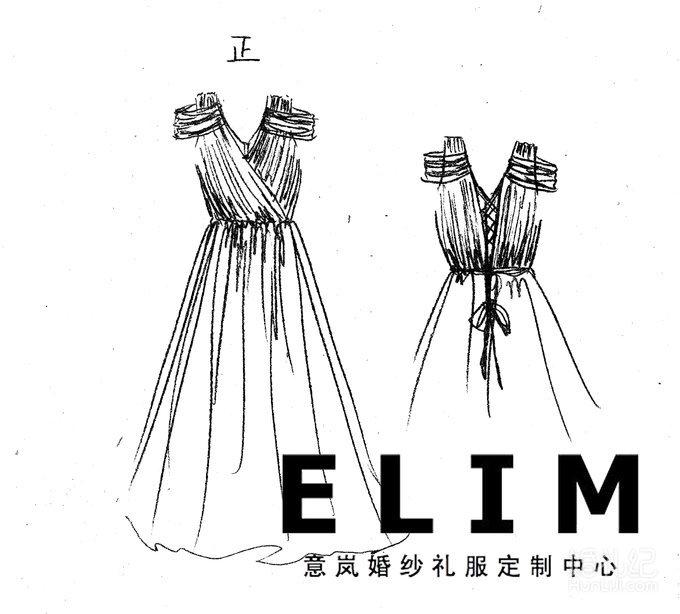 意岚婚纱礼服手绘图