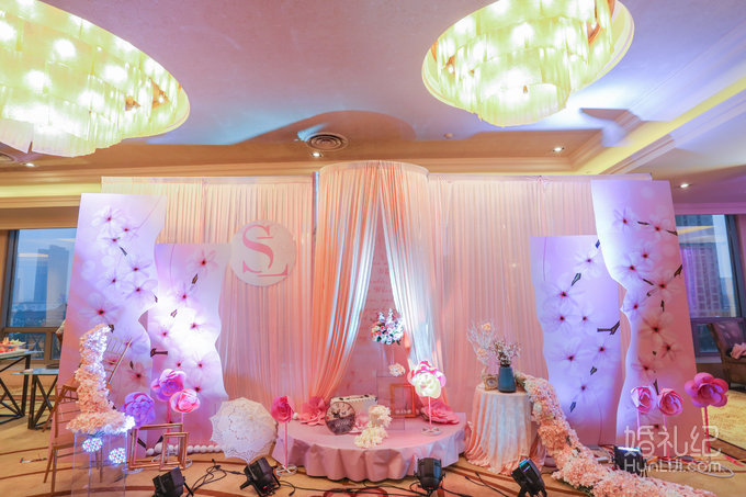 豪华婚礼创意喷绘舞台背景一套,浪漫背景主题冰绸或喷绘设计搭建布置