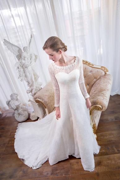 名门新娘婚纱礼服2016春拖尾婚纱蕾丝复古长拖尾